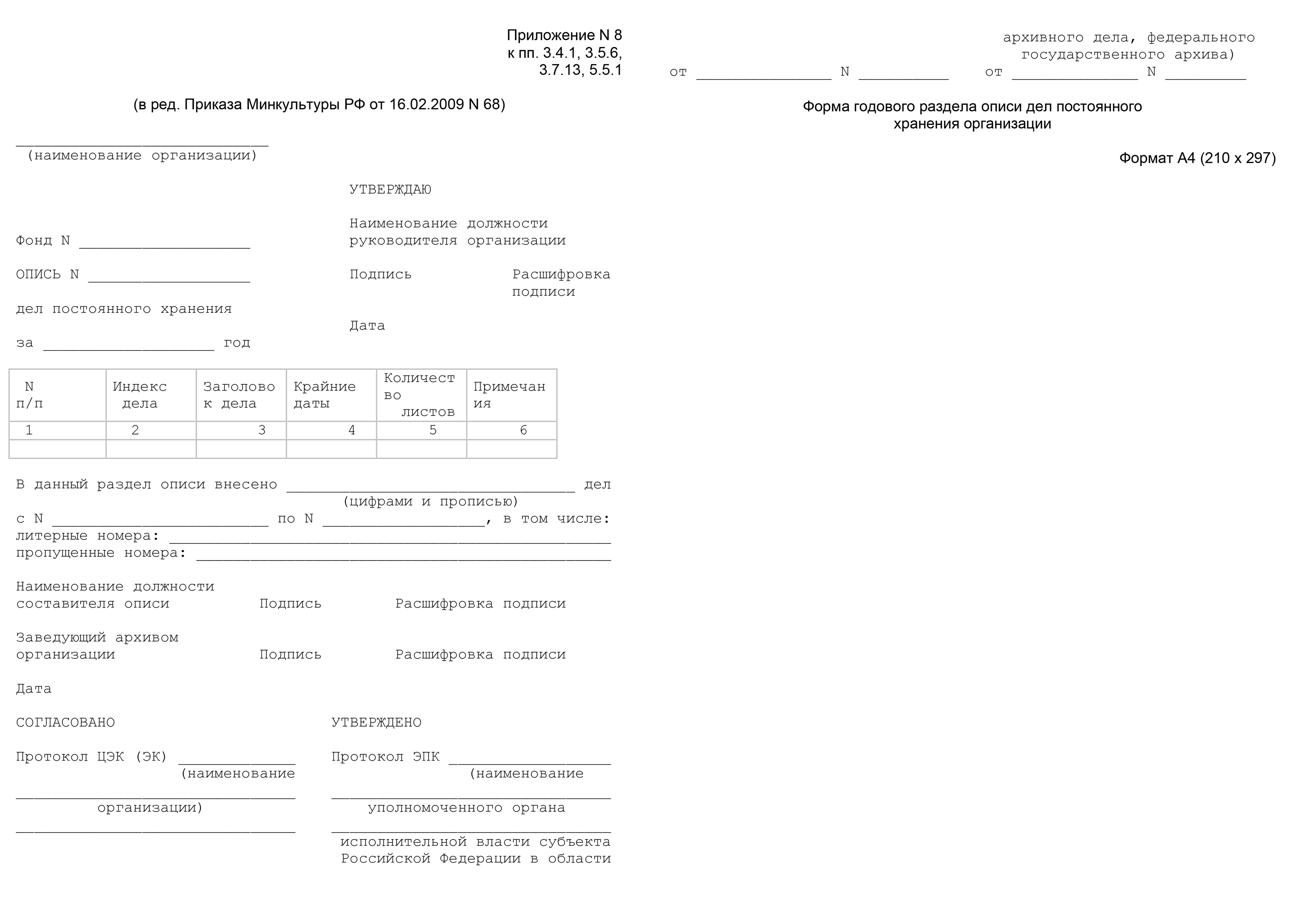 Инструкция о выявлении учете описании и хранении особо ценных документов