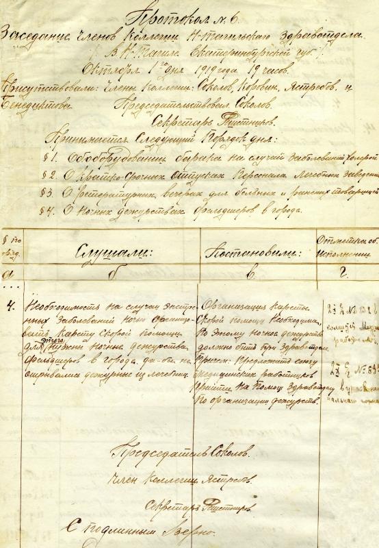 Протокол заседания коллегии Нижнетагильского здравотдела от 1 октября 1919 года № 6. (НТГИА. Ф.99. Оп.1. Д.11. Лл.54-54об)
