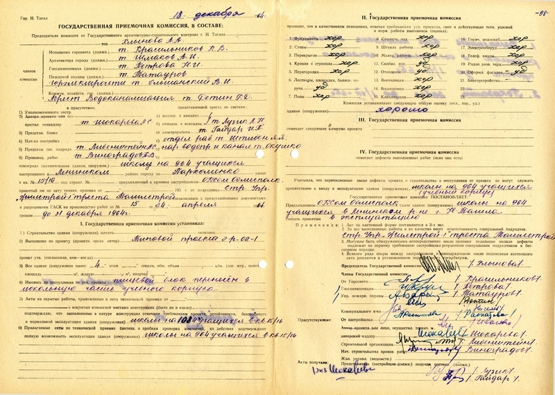 Акт приемки в эксплуатацию Государственной приемочной комиссии от 18 декабря 1964 года № 49 ((НТГИА. Ф.183. Оп.2. Д.5. Лл.97об-98)