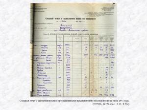Сводный отчет о выполнении плана промышленными предприятиями поселка Висим за июль 1941 года. (НТГИА. Ф.279. Оп.1. Д.13. Л.264)