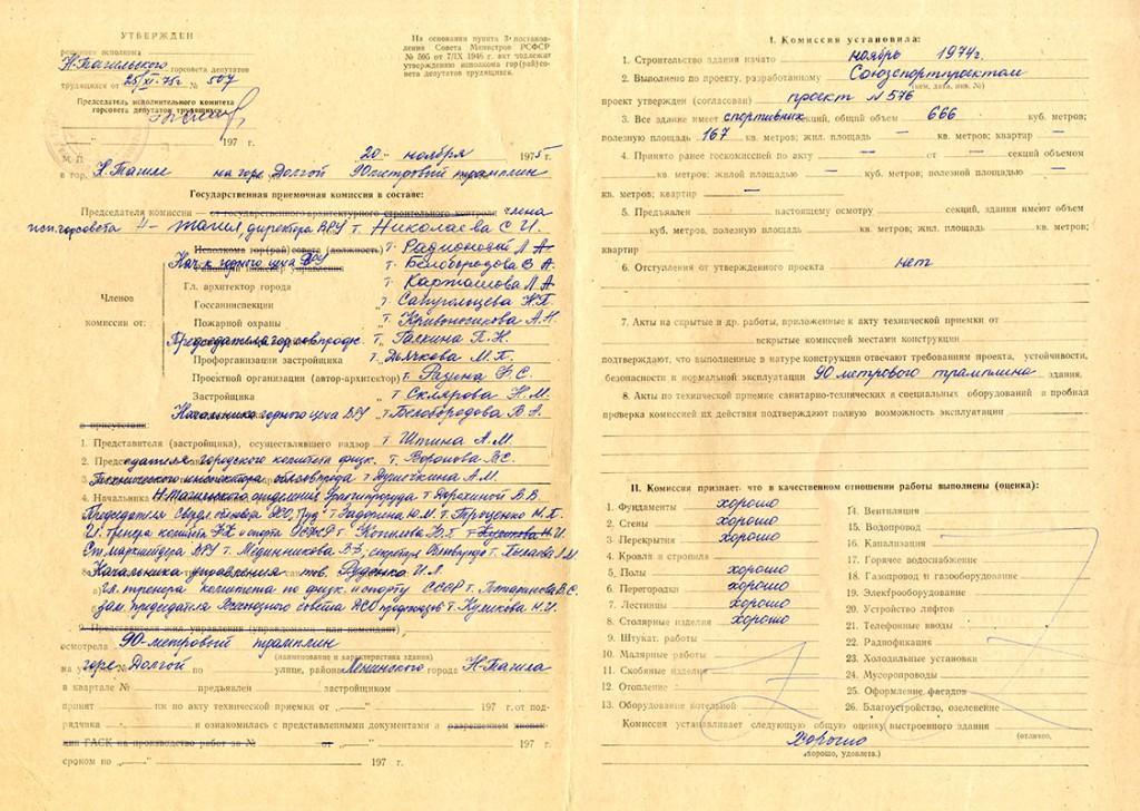 Акт приемки в эксплуатацию Государственной приемочной комиссии от 20 ноября 1975 года № 54 (НТГИА. Ф.183.Оп.2.Д.16.Лл.111об.-112)