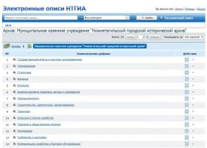 Внешний вид интерфейса информационно-поисковой системы «Электронные описи НТГИА»