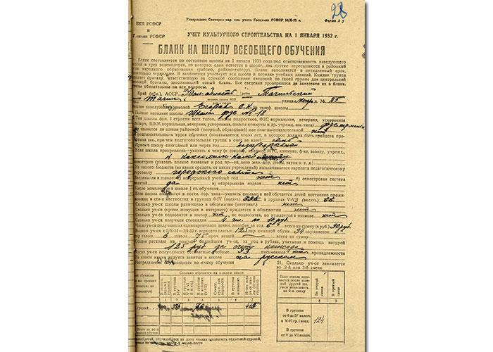 Бланк (форма отчетности) на школу всеобщего обучения от 1 февраля 1932 года. (НТГИА. Ф.144. Оп.1. Д.62. Лл.28-29об.)