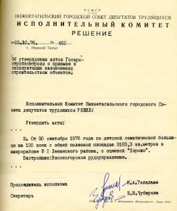Решение исполнительного комитета Нижнетагильского городского Совета депутатов трудящихся от 5 октября 1976 года № 462.(НТГИА. Ф.70. Оп.2. Д.1432. Л.162)