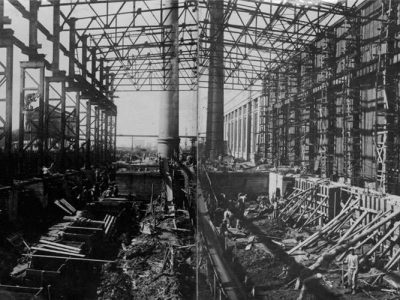 Cтроительство бандажного цеха. 1943 г. (НТГИА. Коллекция фотодокументов. Оп.1ФА. Д.31.Л.16об. ф.243 )