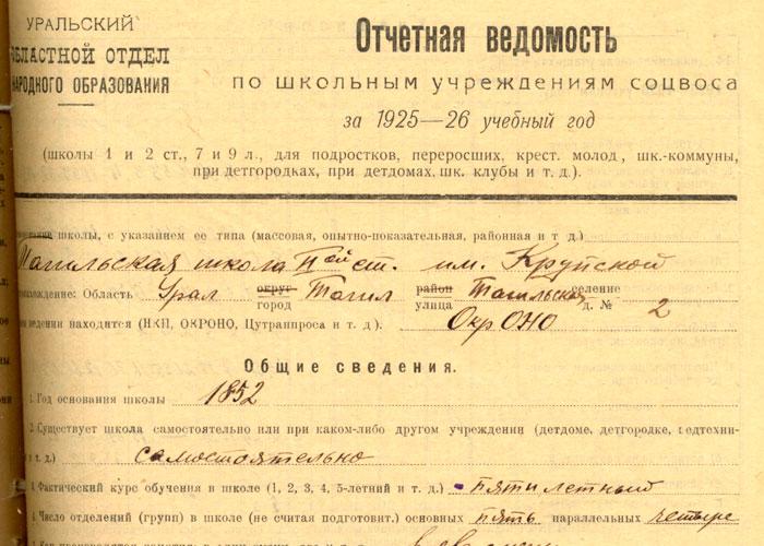 Отчет об образовательной деятельности школы за 1925-1926 учебный год (НТГИА. Ф.26.Оп.1.Д.123.Л.424.)