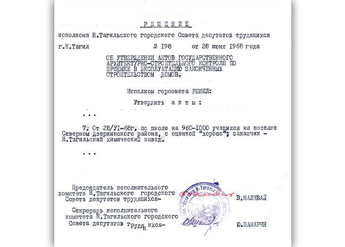 Решение исполнительного комитета Нижнетагильского городского Совета депутатов трудящихся от 28 июня 1968 года № 198. (НТГИА. Ф.70.Оп.2.Д.1047.Л.171)