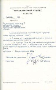 Решение исполнительного комитета Нижнетагильского городского Совета народных депутатов  от 7 декабря 1983 года  № 387. (НТГИА. Ф.70.Оп.2.Д.1740.Л.189)