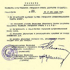 Решение исполнительного комитета Нижнетагильского городского Совета депутатов трудящихся от 17 мая 1944 года № 286