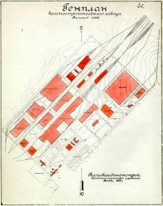 Генплан вагоностроительного завода. Масштаб 1:2000. 1932 год. (НТГИА. Ф.31.Оп.1.Д.101.Л.22)