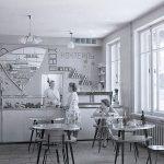 Интерьер кафетерия, размещенного в продовольственном магазине «Восток» по ул. Октябрьской революции. 1964 г. (НТГИА. Коллекция фотодокументов. Оп.1Н1.Д.2866)