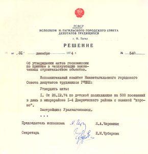 Решение исполнительного комитета Нижнетагильского городского Совета депутатов трудящихся от 31 декабря 1974 года № 540. (НТГИА. Ф.70.Оп.1.Д.1324.Л.426-428)