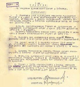 Протокол заседания Президиума Нижнетагильского городского Совета рабочих, крестьянских и красноармейских депутатов от 28 января 1935 года № 5. (НТГИА. Ф.70.Оп.2.Д.283.Лл.61-62)